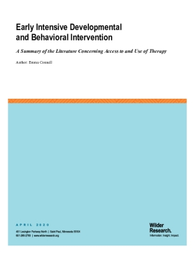 Early Intensive Developmental and Behavioral Intervention: A Summary of the Literature Concerning Access to and Use of Therapy